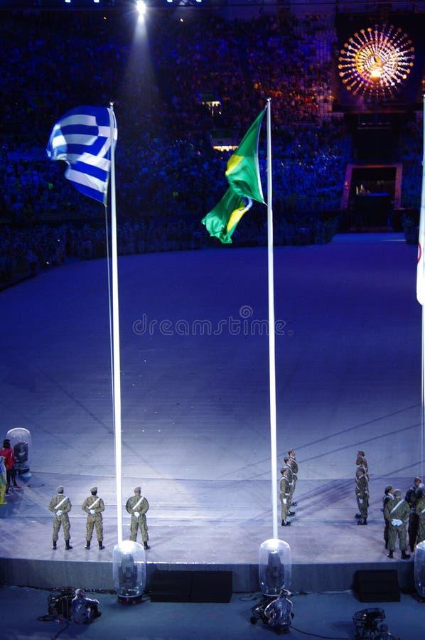 De Braziliaanse militaire kracht bij de colsing ceremonies van Rio2016 royalty-vrije stock afbeelding