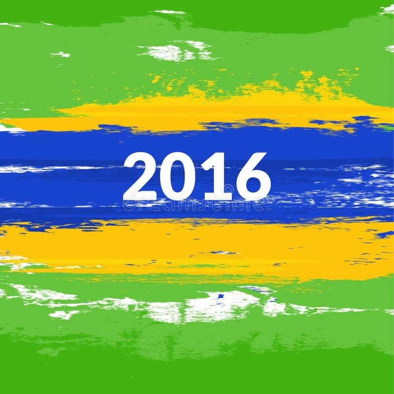 De Braziliaanse vlag van de Grungeborstel met de inschrijving 2016 Vector illustratie vector illustratie