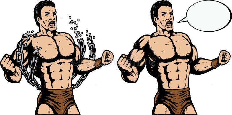 De brekende kettingen van Strongman royalty-vrije illustratie