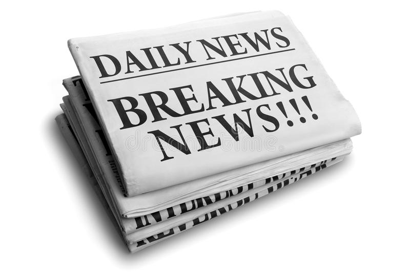 De brekende krantekop van de nieuws dagelijkse krant stock foto