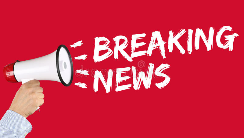 De brekende nieuwsmedia aankondiging kondigt informatiemegafoon aan royalty-vrije stock afbeeldingen