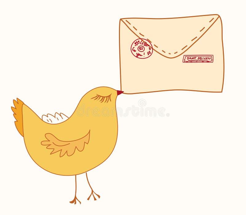 De brengende brief van de vogel stock illustratie