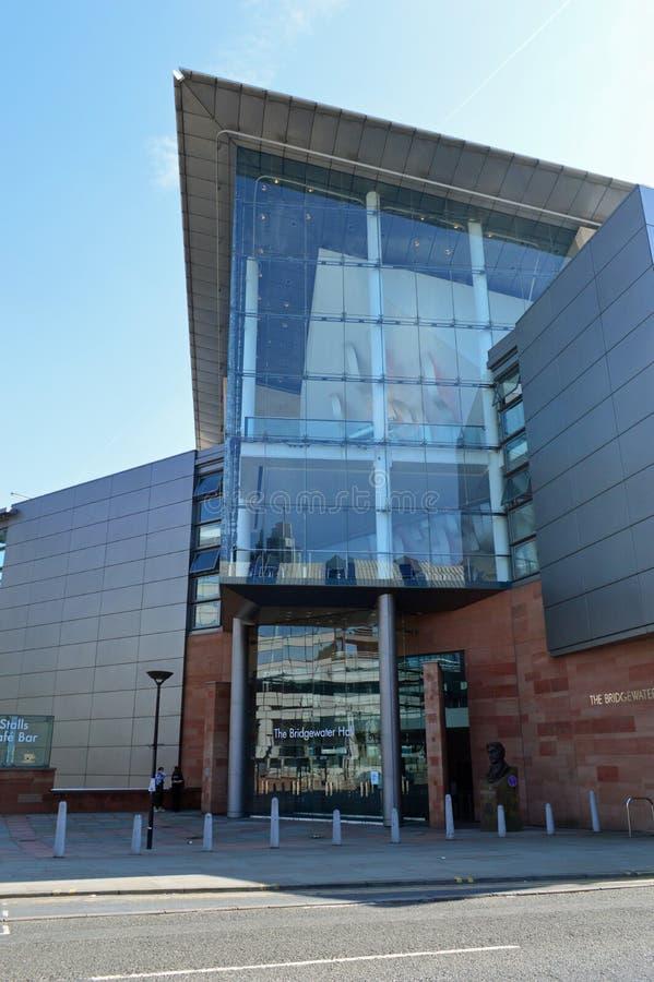 De Bridgewater-Zaal in de stadscentrum van Manchester, Engeland royalty-vrije stock fotografie