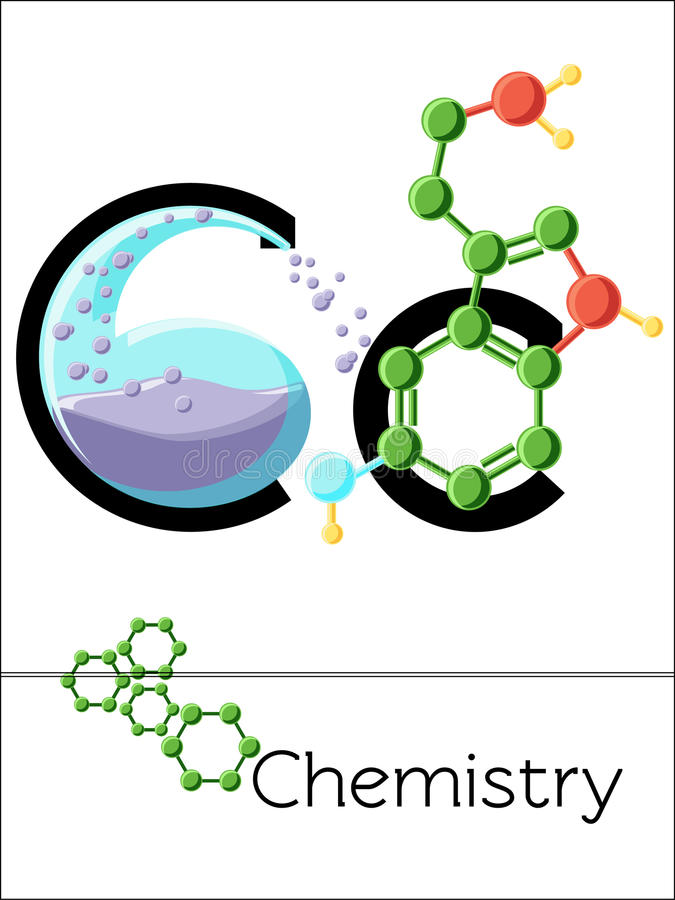 De brief C van de flitskaart is voor Chemie stock illustratie