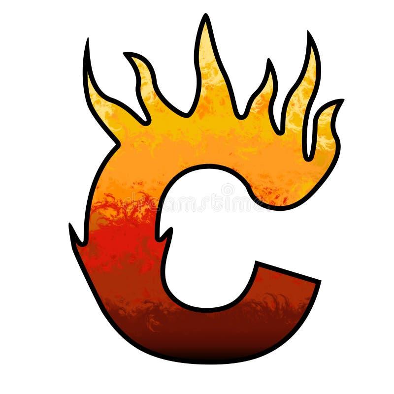 De Brief C van het Alfabet van vlammen stock illustratie