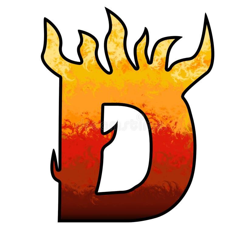 De Brief D van het Alfabet van vlammen vector illustratie