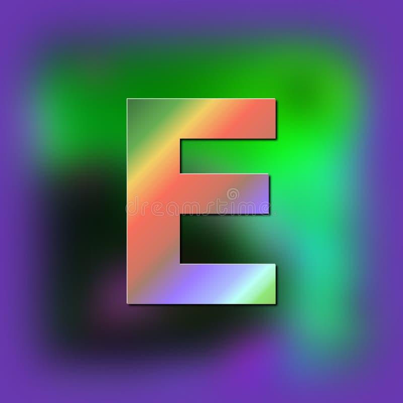 De brief E wordt geplaatst op de textuur stock illustratie