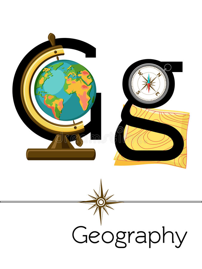De brief G van de flitskaart is voor Aardrijkskunde vector illustratie