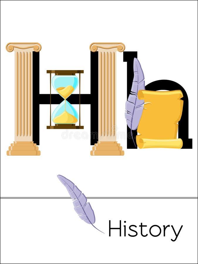 De brief H van de flitskaart is voor Geschiedenis royalty-vrije illustratie