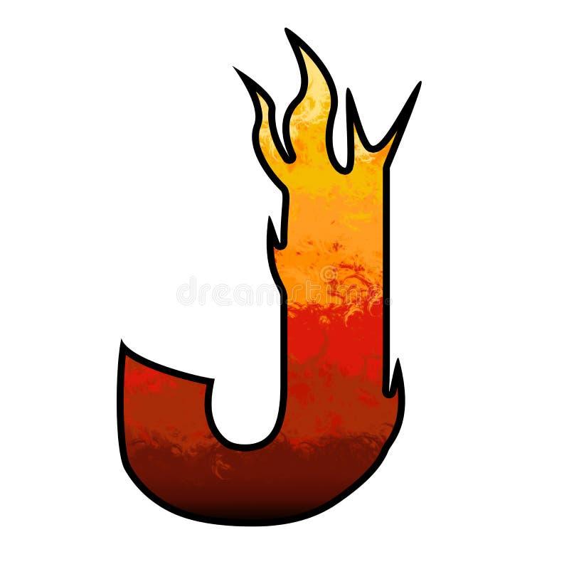 De Brief J van het Alfabet van vlammen vector illustratie