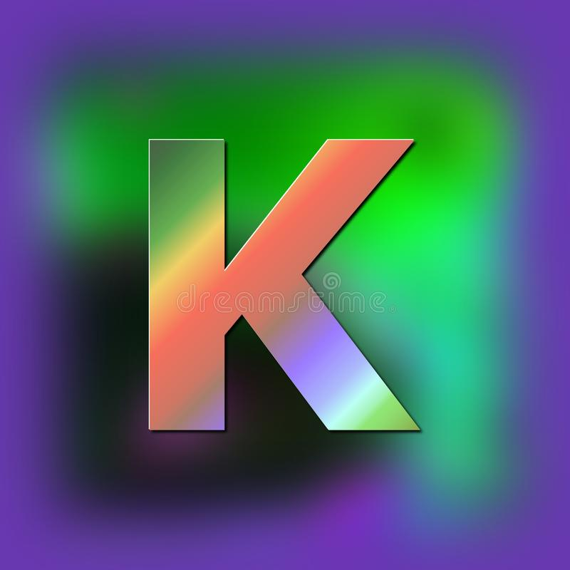 De brief K wordt geplaatst op de textuur stock illustratie