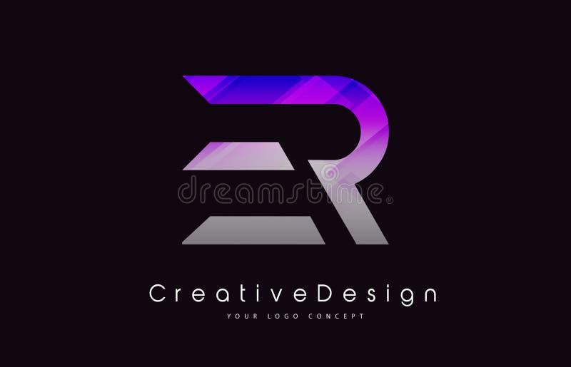 De Brief Logo Design van ER Purper Textuur Creatief Pictogram Moderne Lette vector illustratie