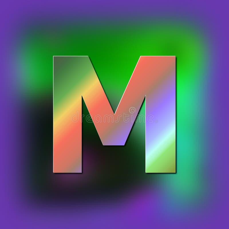 De brief M wordt geplaatst op de textuur vector illustratie