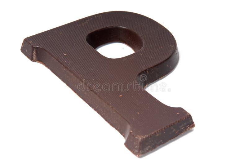 De brief P van de chocolade stock afbeeldingen