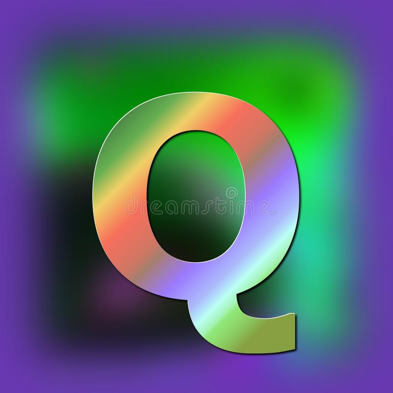 De brief Q wordt geplaatst op de textuur royalty-vrije illustratie