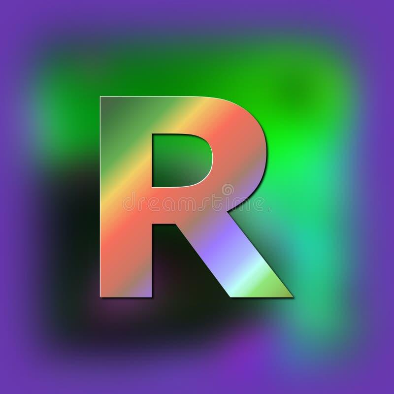 De brief R wordt geplaatst op de textuur vector illustratie