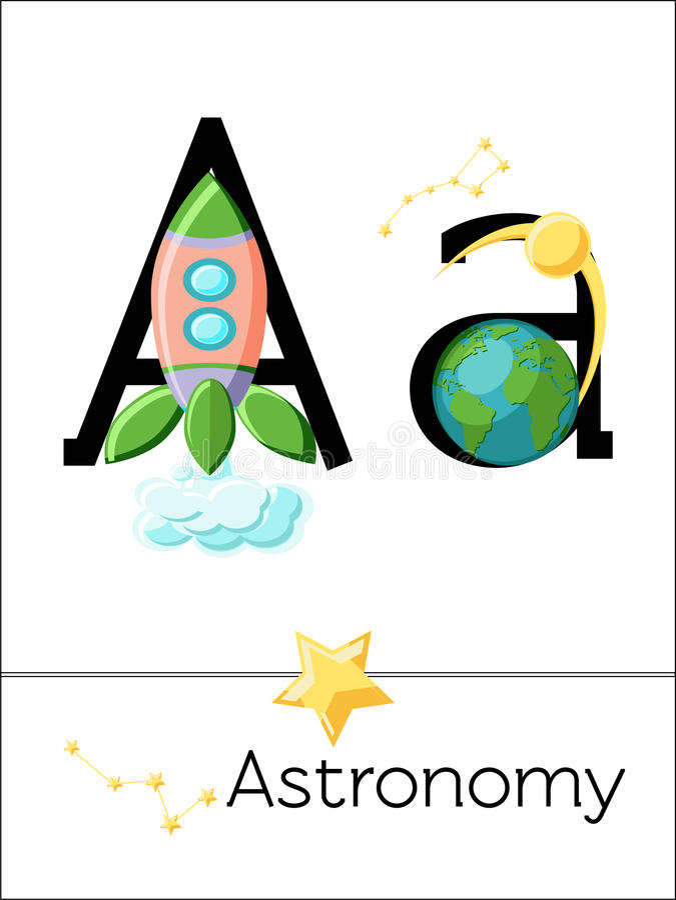 De brief A van de flitskaart is voor Astronomie royalty-vrije illustratie
