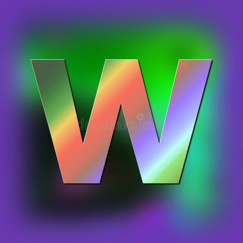 De brief W wordt geplaatst op de textuur vector illustratie