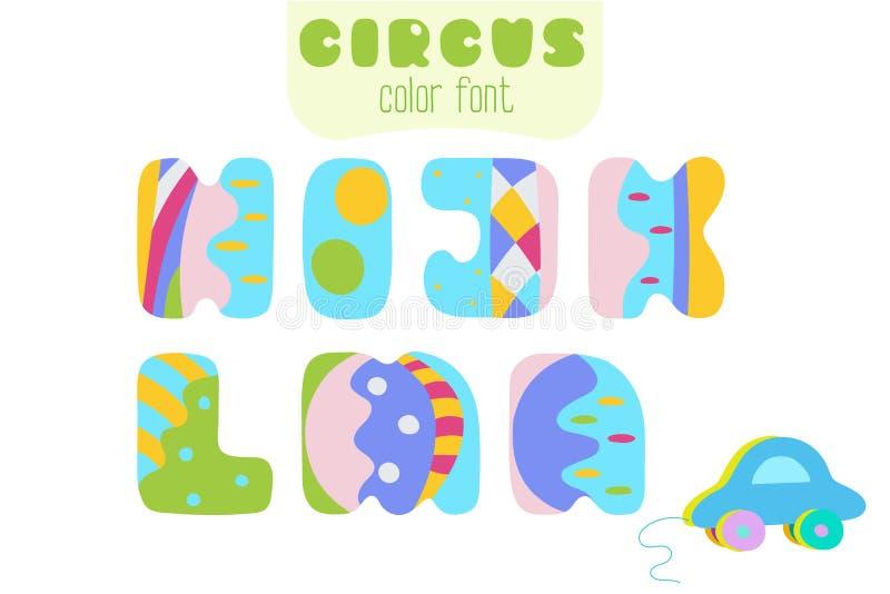 De brieven van de beeldverhaalstijl H, I, J, K, L, M, N en stuk speelgoed auto stock illustratie