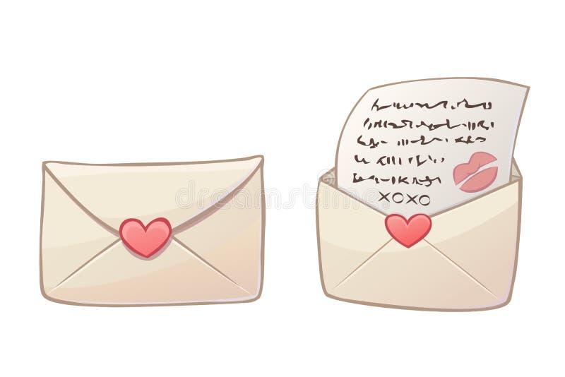 De brieven van de beeldverhaalliefde stock illustratie