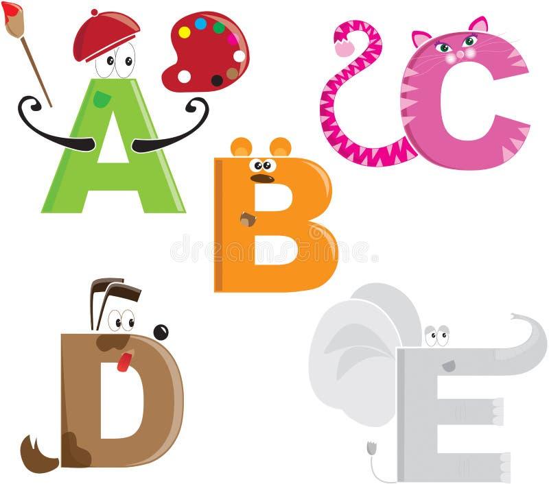 De brieven van het alfabet als verschillende dieren royalty-vrije illustratie