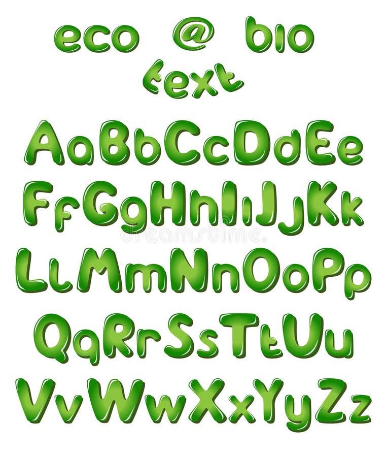 De brieven van het alfabet in groene kleuren royalty-vrije illustratie