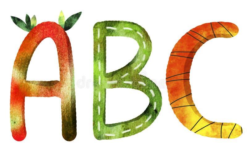De brieven van het Engelse alfabet van ABC stock illustratie