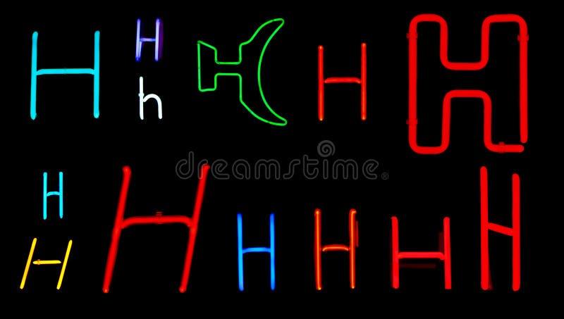 De Brieven van het h- Neon vector illustratie