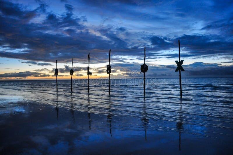 De Brieven van het Holboxeiland op het Strand stock foto