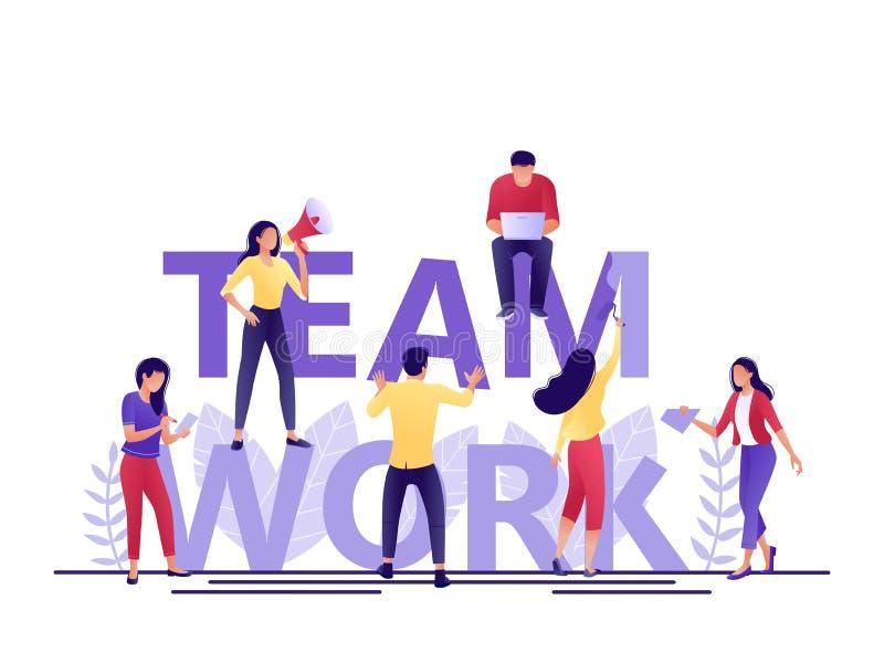 De brieven van het teamwerk De kleine mensen bouwen samen woordgroepswerk Het creëren van een bedrijfsproject Vlakke concepten ve stock illustratie