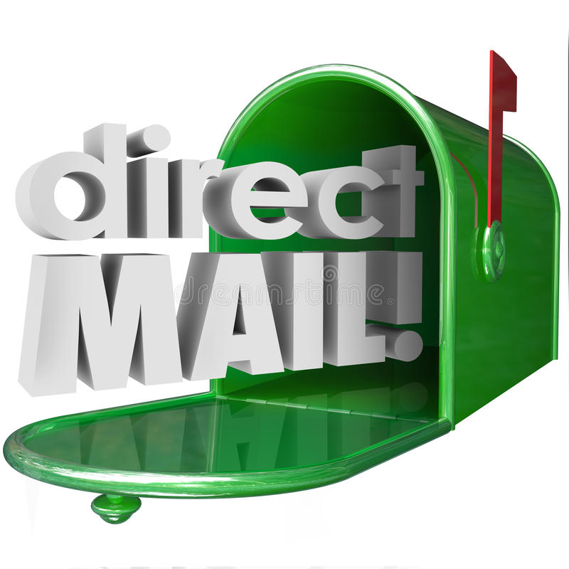 De Brievenbus van direct mailwoorden Reclamepublicitaire mededeling me royalty-vrije illustratie