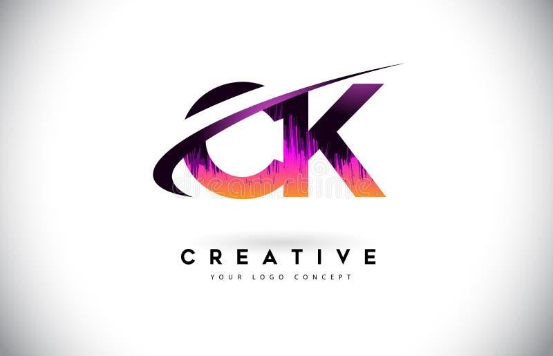 De Brievenembleem van CK C K Grunge met Purper Trillend Kleurenontwerp Cre vector illustratie