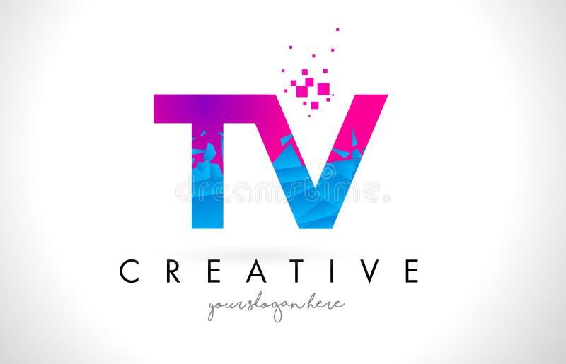 De Brievenembleem van TV T V met Verbrijzelde Gebroken Blauwe Roze Textuur Desig stock illustratie