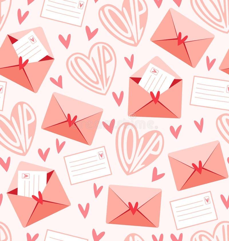 De brievenpatroon van de liefde royalty-vrije illustratie