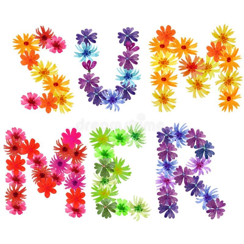 De brievenzomer van de zomerbloemen vector illustratie