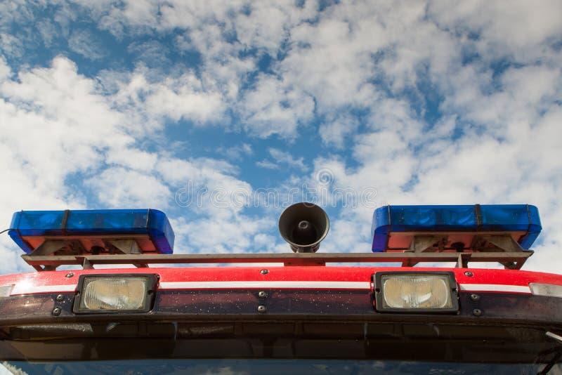 De Britse lichten en de sirene van de Brandvrachtwagen stock foto
