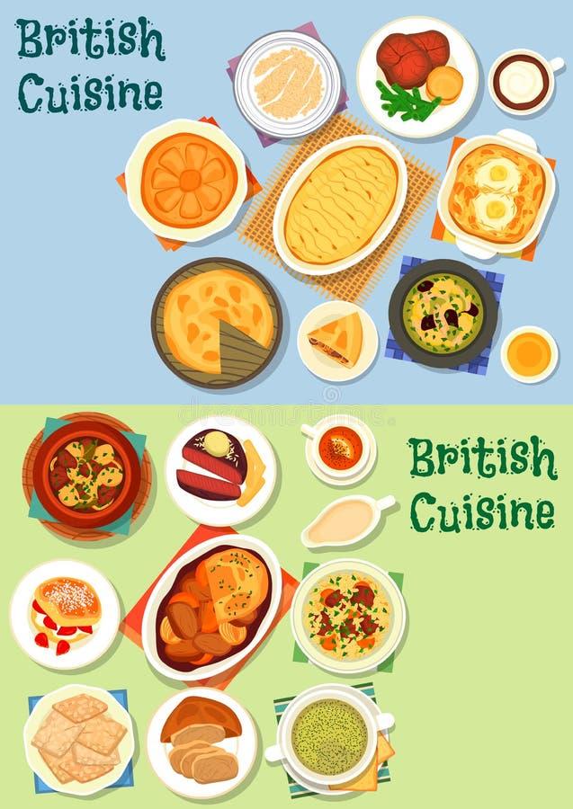 De Britse reeks van het de schotelspictogram van het keuken traditionele vlees stock illustratie