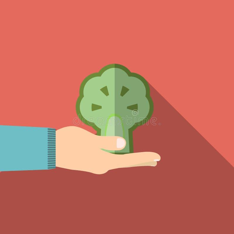 De broccoli van de handholding in vlak ontwerp op achtergrond vector illustratie
