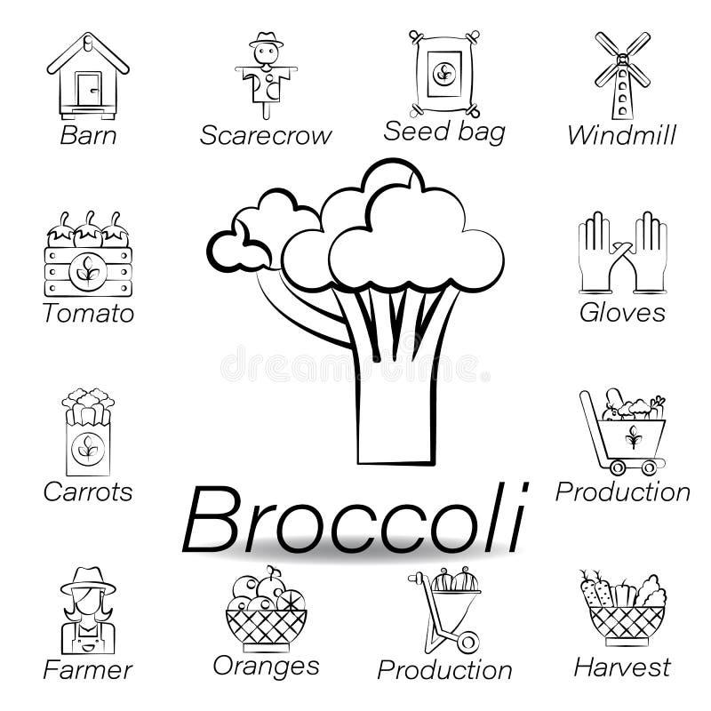 De broccolihand trekt pictogram Element van de landbouw van illustratiepictogrammen De tekens en de symbolen kunnen voor Web, emb vector illustratie