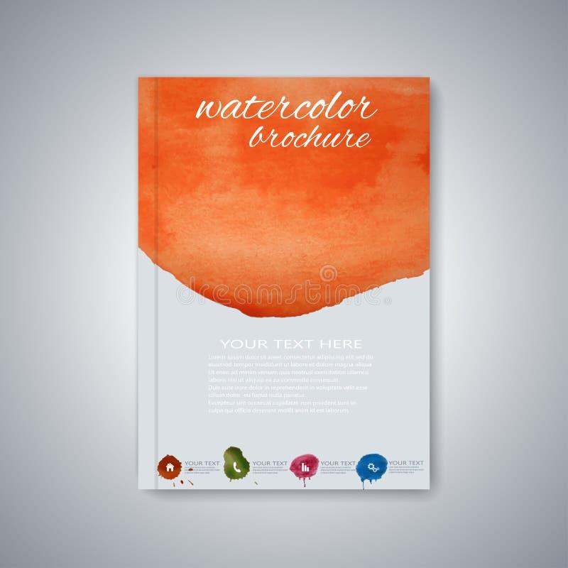 De brochure van het waterverfmalplaatje, tijdschrift, vlieger royalty-vrije illustratie