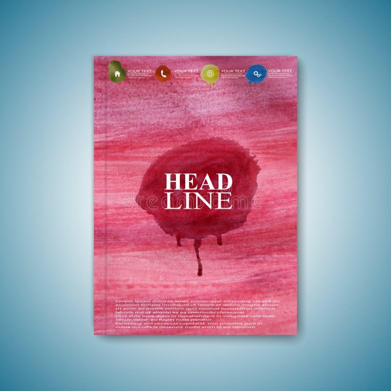 De brochure van het waterverfmalplaatje, tijdschrift, vlieger vector illustratie