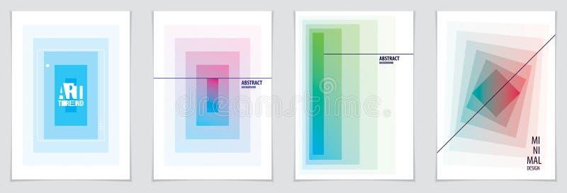 De brochureontwerpen van de Minimalisticdekking geometrische patronen a royalty-vrije illustratie