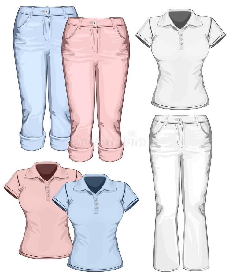 De broekjeans en polo-overhemd van vrouwen vector illustratie