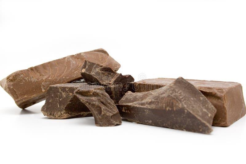 De Brokken van de chocolade stock foto
