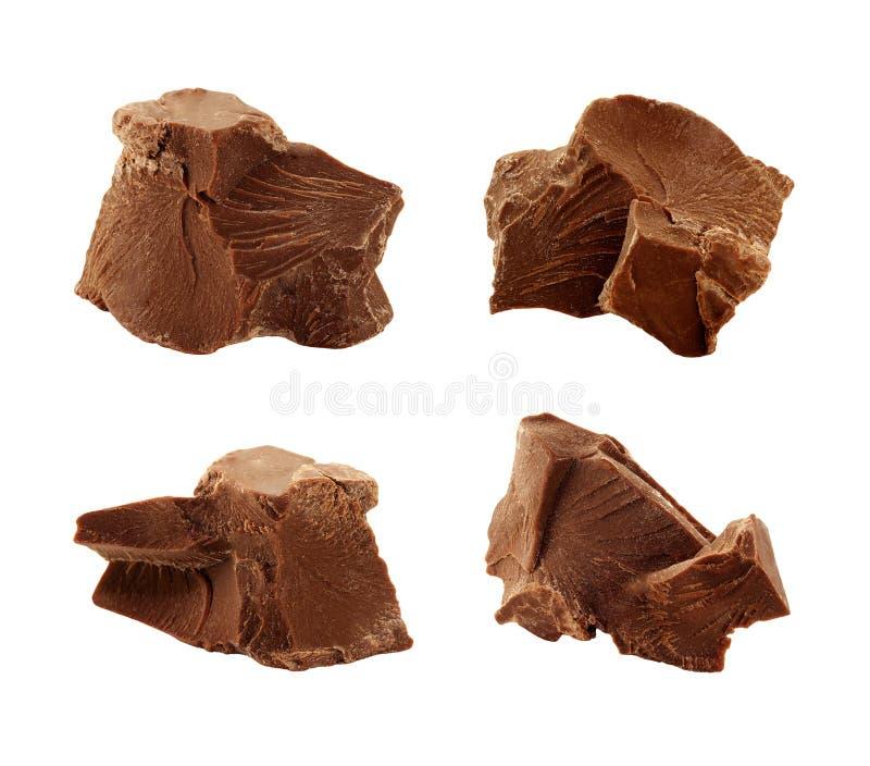 De Brokken van de chocolade stock afbeeldingen