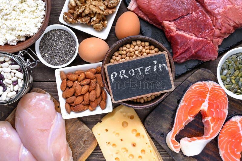 De bronnen van het selectievoedsel van proteïne gezonde voeding die concep eten stock foto's
