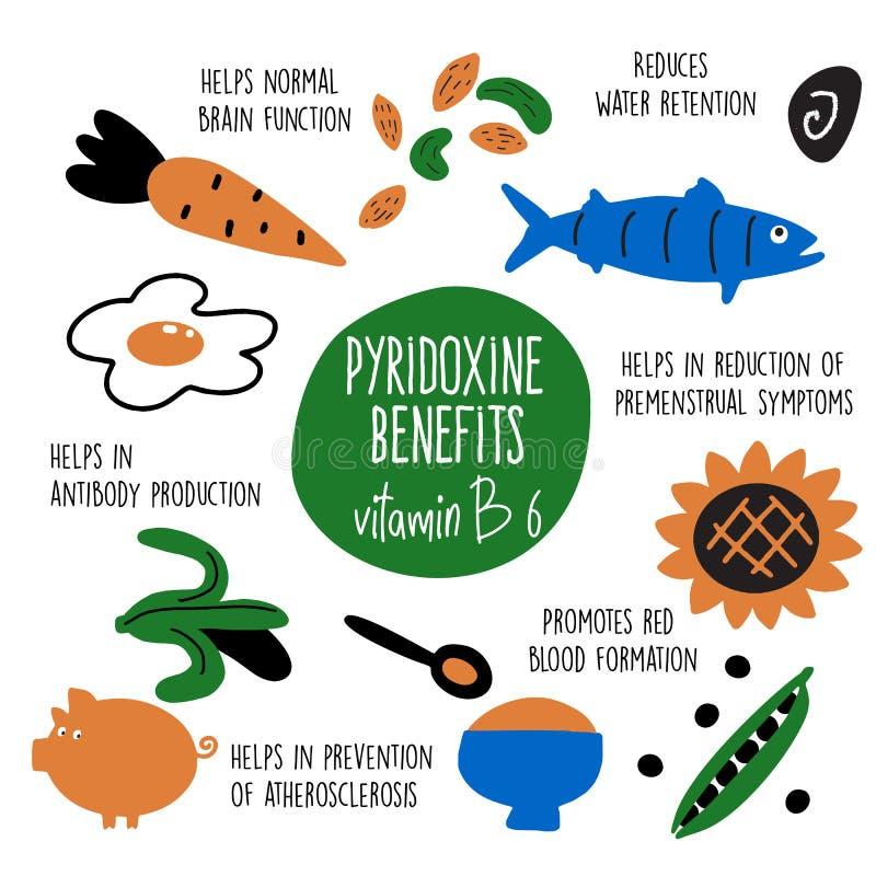 De bronnen van het vitamineb 6 voedsel, pyridoxine Vectorbeeldverhaalillustratie en informatie over gezondheidsvoordelen van vita royalty-vrije illustratie