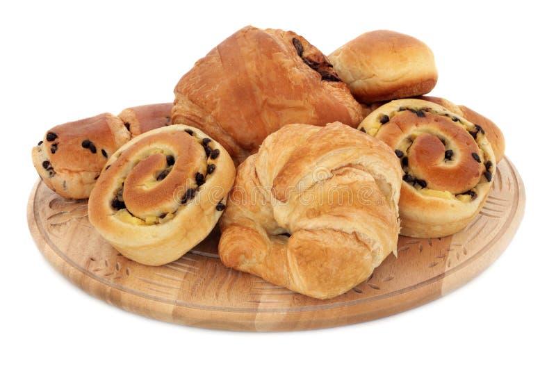 De Broodjes van de croissant en van de Brioche stock foto