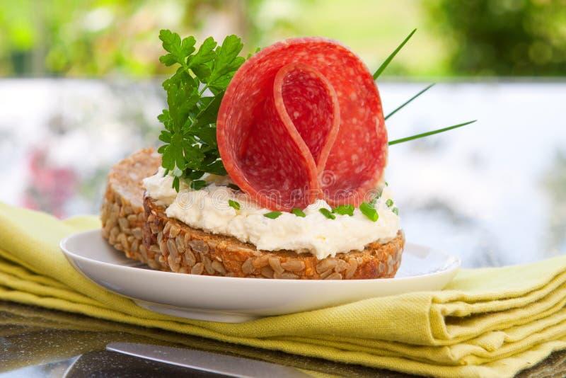 De broodjes van de salami royalty-vrije stock afbeelding