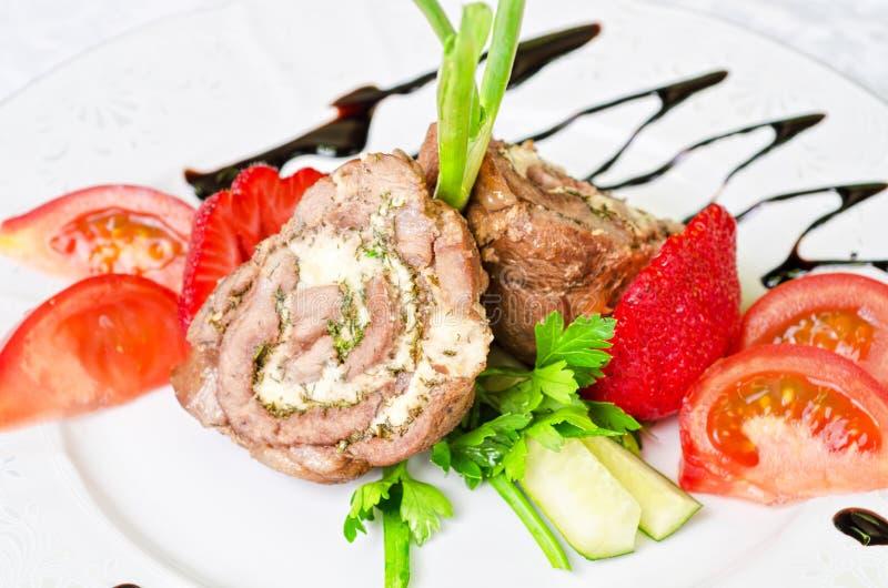 De broodjes van het varkensvlees met groenten royalty-vrije stock foto's